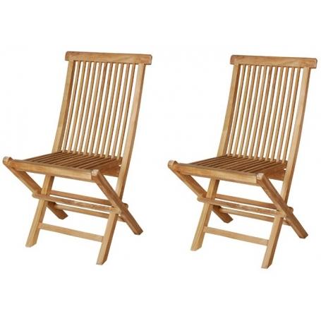 Lot de 2 chaises pliantes en teck mayotte piscine clic - Lot chaises pliantes ...