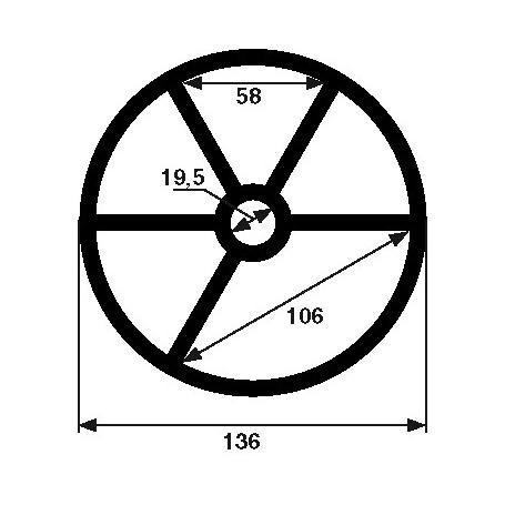Joint étoile de vanne Midas 1''1/2 (Ø136mm)