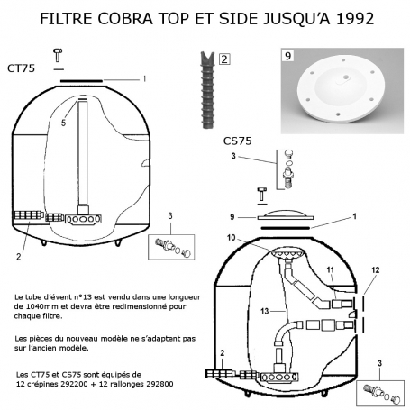 filtre sable cobra top side avant 1992