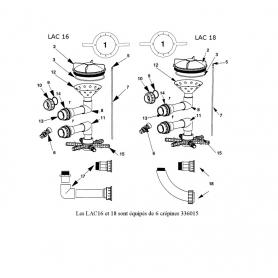 Kit de liaison vanne/filtre Lacron 16
