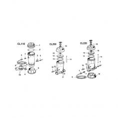Kit joints+clips de vanne de chlorinateur Hayward