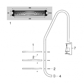 Marche inox d'échelle Pool's (500x85mm, Ø42mm)