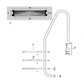 Marche plastique échelle Pool's (504x90mm, Ø45mm)