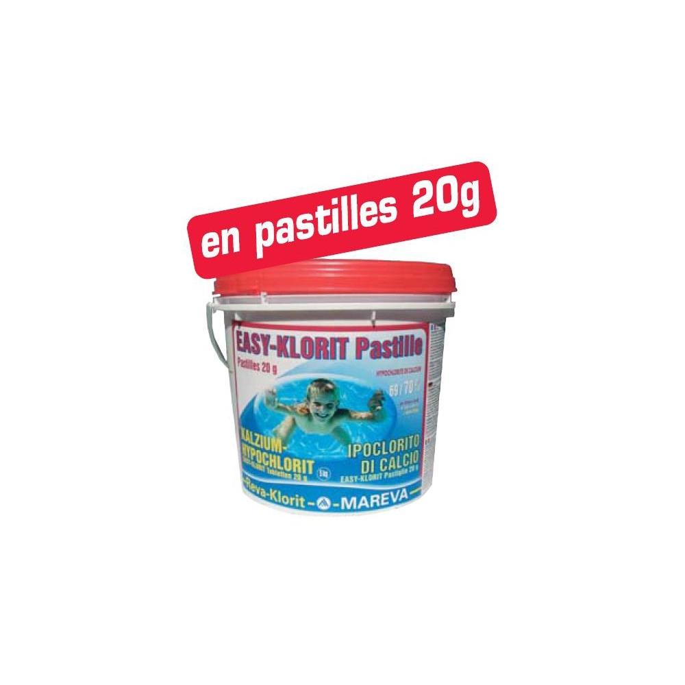 Easy klorit pastilles 20g mareva piscine clic for Hypochlorite de calcium piscine