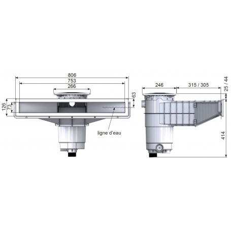 dimensions Skimmer Elégance A800 Weltico