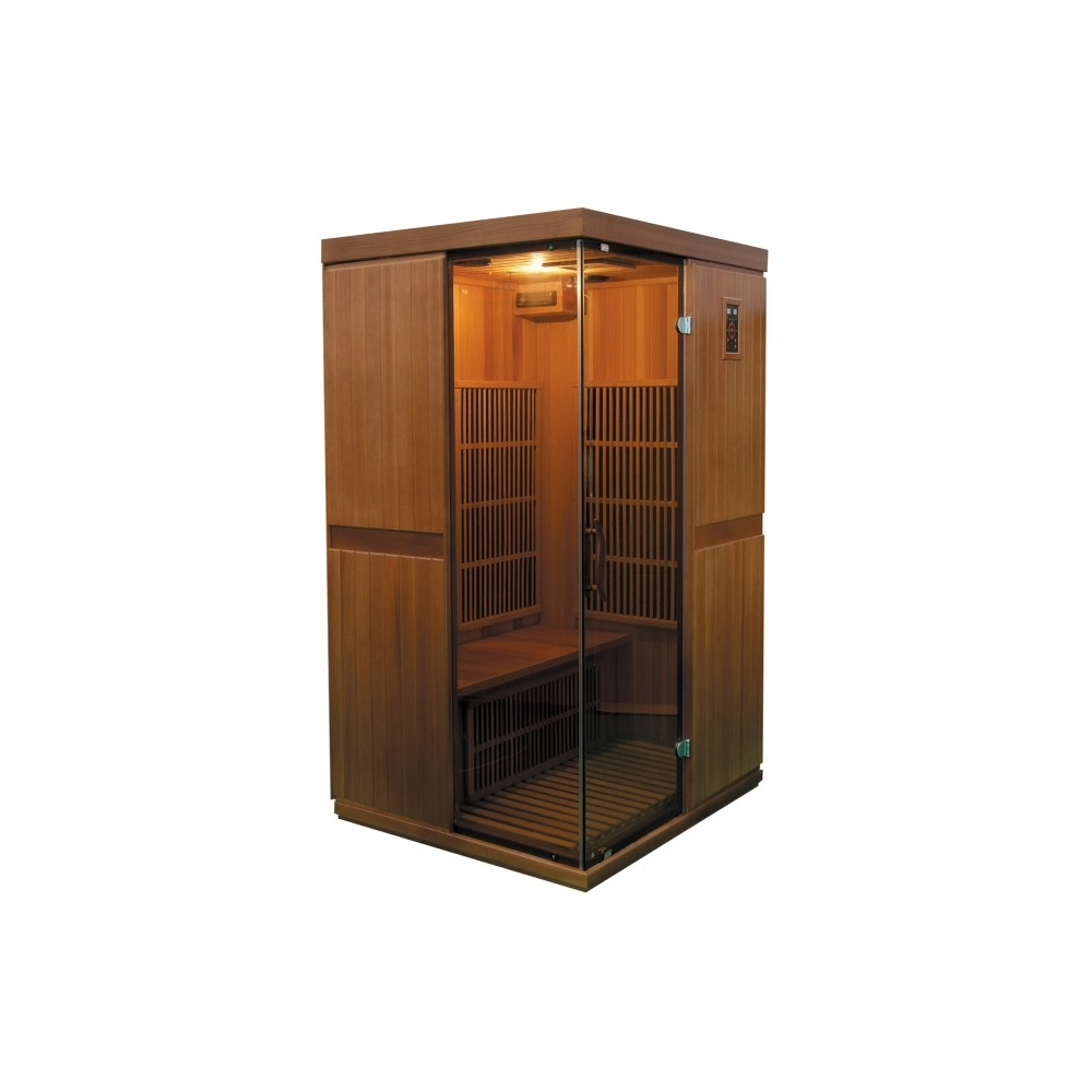 sauna infrarouge bois c dre rouge astral 2 places. Black Bedroom Furniture Sets. Home Design Ideas