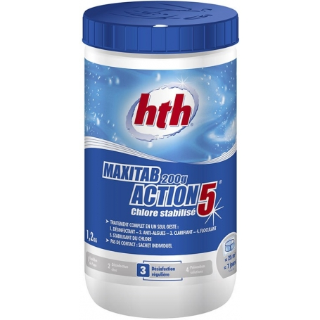 Chlore ACTION 5 Maxitab hth 1,2 kg