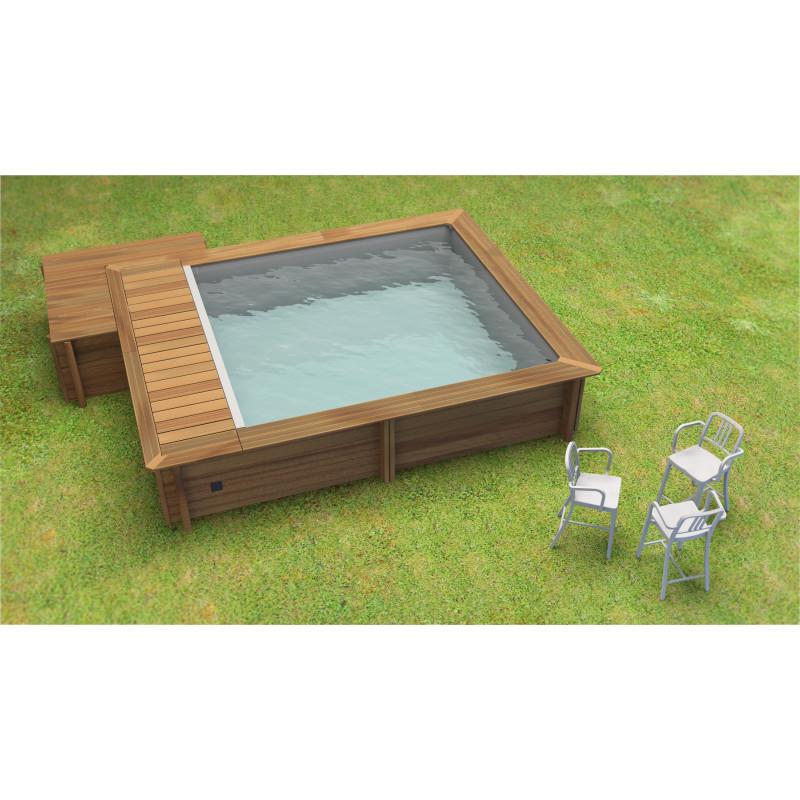 Coffre bois piscine hors-sol urbaine