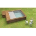 Coffre bois piscine hors-sol urbaine semi-ouverte