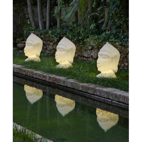 Tête de Bouddha lumineuse blanche GOA 70 cm