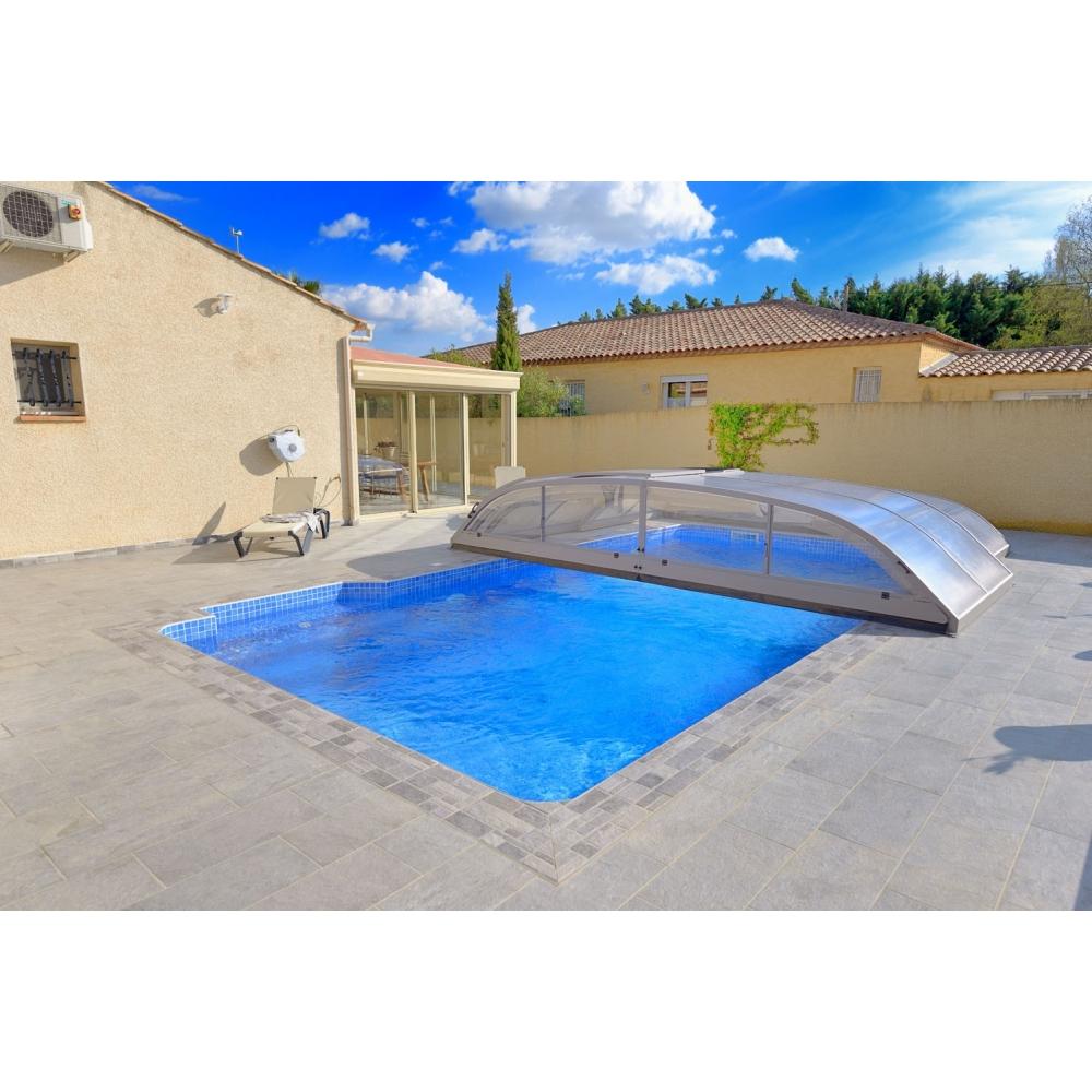 Abri bas t lescopique sans rails livraison offerte for Abri piscine telescopique