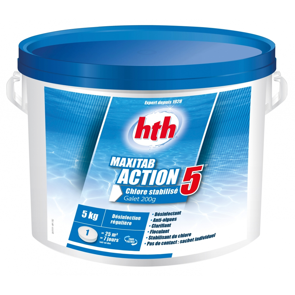 Chlore multifonction action 5 maxitab 200g hth for Piscine au sel ou au chlore