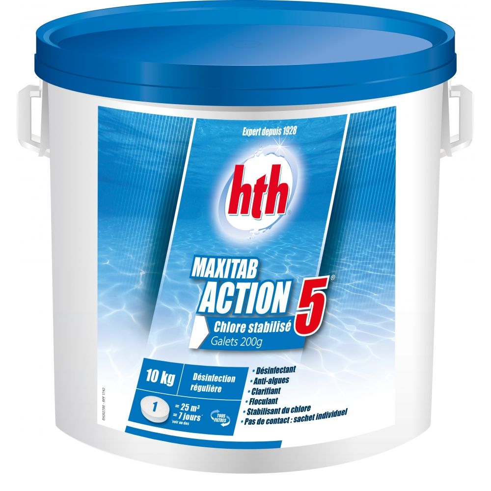 Chlore multifonction action 5 maxitab 200g hth for Chlore hth piscine