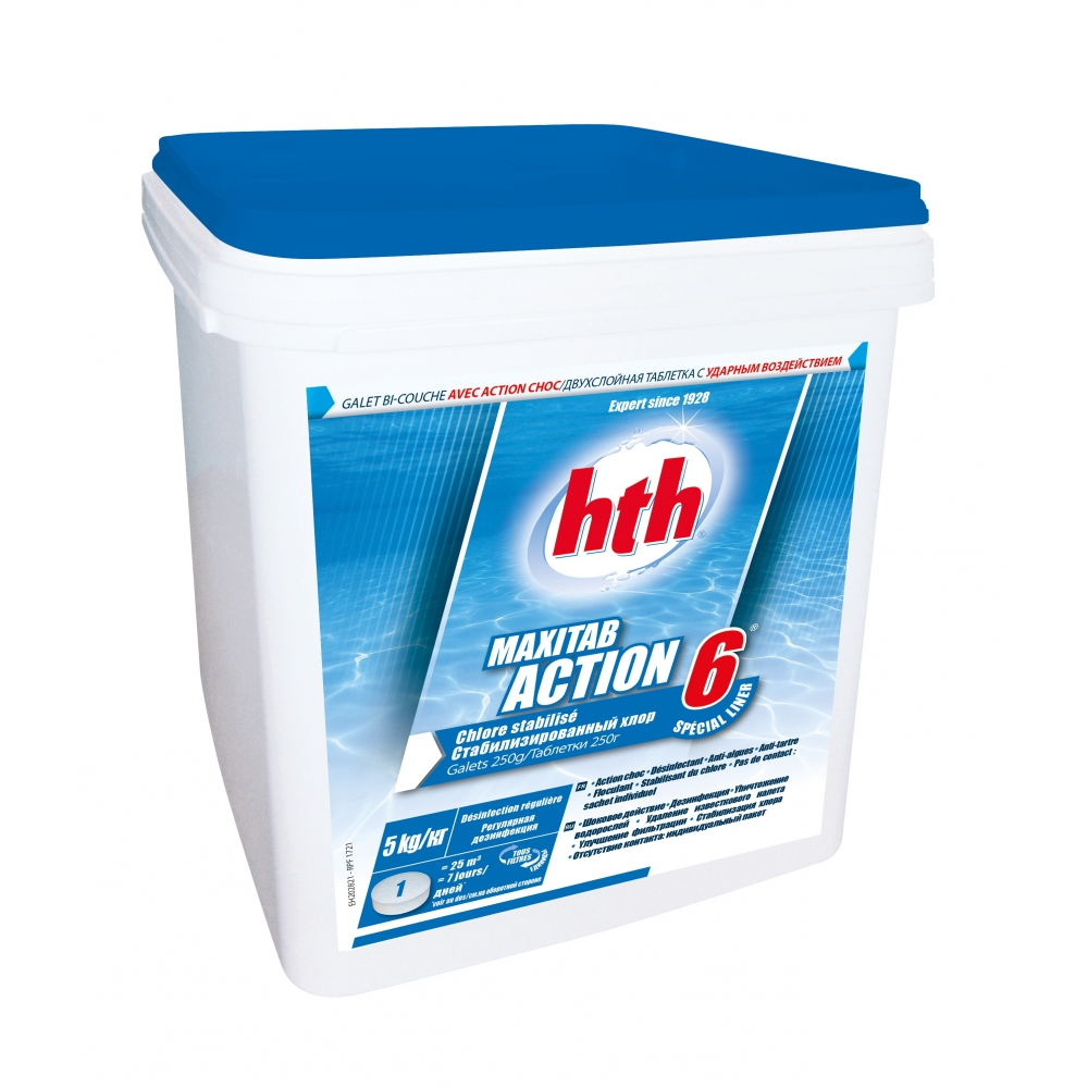 Chlore multifonction action 6 maxitab 250g hth special liner for Chlore piscine