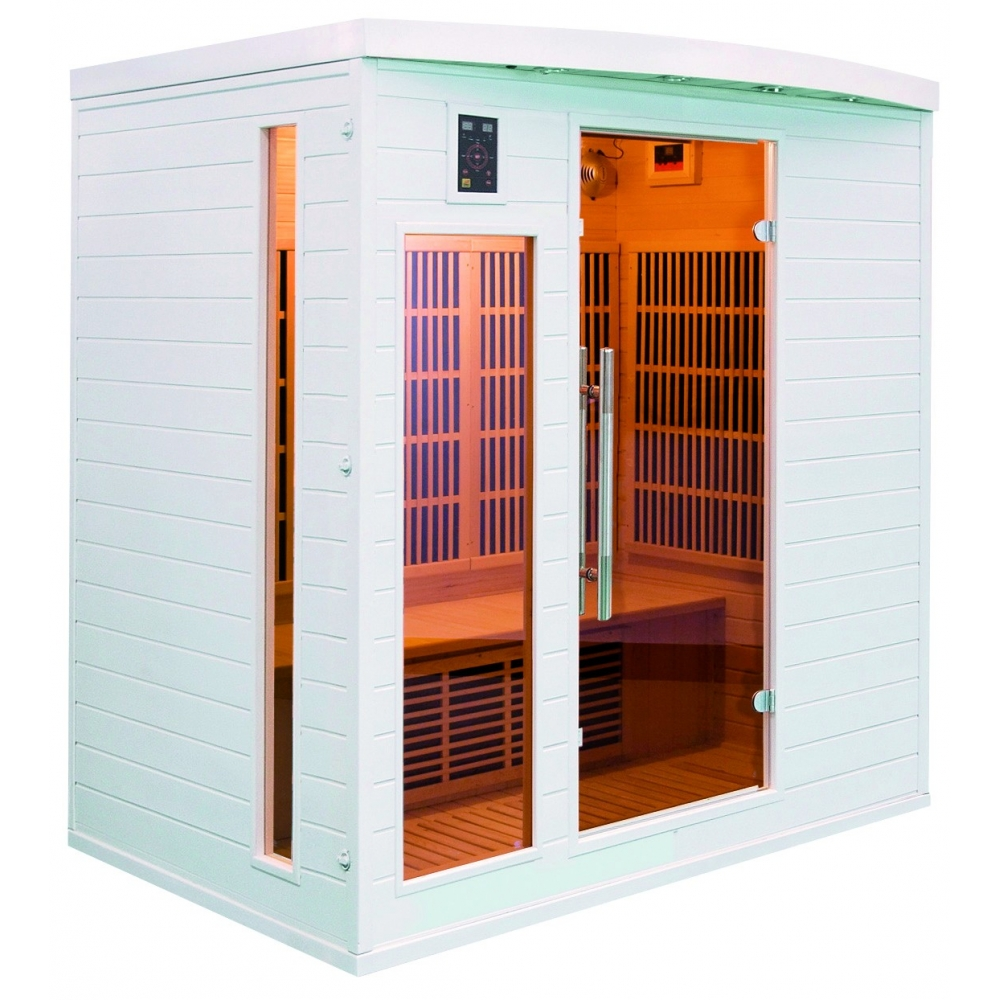 Sauna infrarouge soleil blanc 4 places - Sauna infrarouge utilisation ...