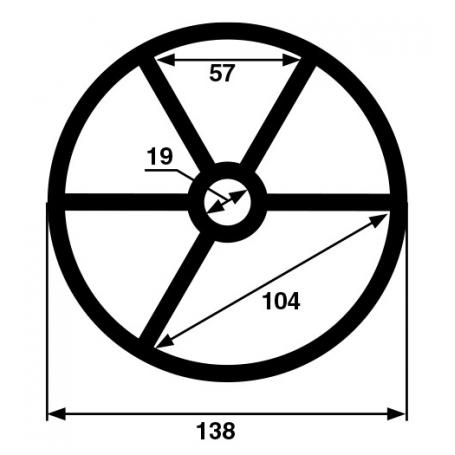 Joint étoile 5 branches de vanne Hayward (Ø138mm)