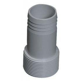 Raccord cannelé gris droit fixe, 50 x 45mm