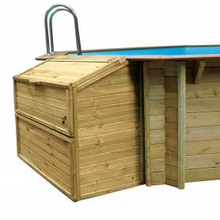Coffre de filtration en pin pour piscine bois octogonale hors sol